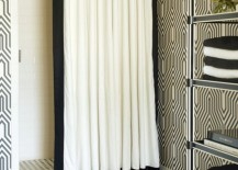 Luxury shower curtain with a ceiling track system by Tobi Fairley