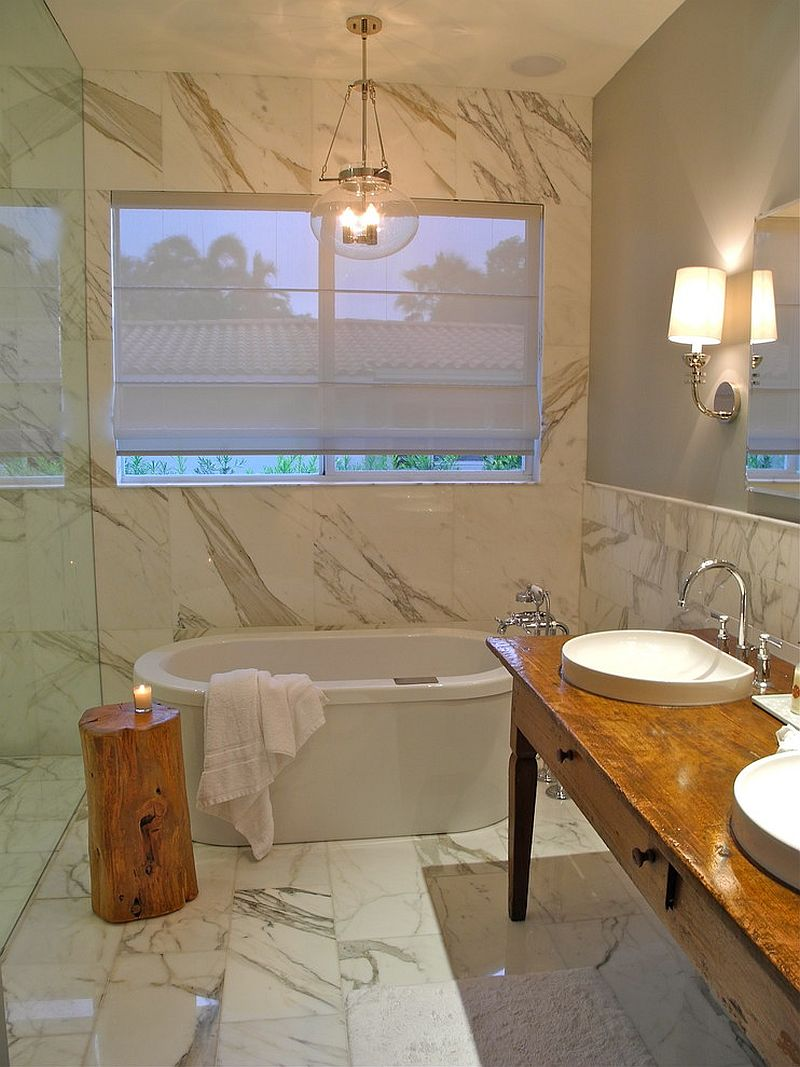 Little luxury 30 bathrooms that delight with a side table for Small marble bathroom ideas