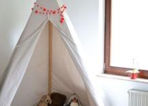 Simple DIY teepee 217x155 15 Whimsical Teepee Reading Nooks for Kids