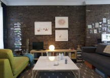 Simple and stylish decorating idea for living room with brick walls [Design: Katherine Hammond / Elizabeth Felicella Photography]