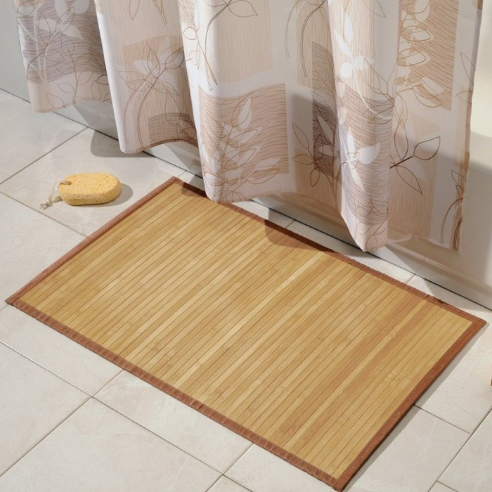 7 bath mat ideas to make your bathroom feel more like a spa for Bamboo bathroom design