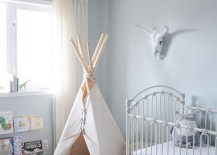 Simple teepee in a corner of a nursery 217x155 15 Whimsical Teepee Reading Nooks for Kids