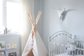 Simple teepee in a corner of a nursery 15 Whimsical Teepee Reading Nooks for Kids 15 Whimsical Teepee Reading Nooks for Kids Simple teepee in a corner of a nursery
