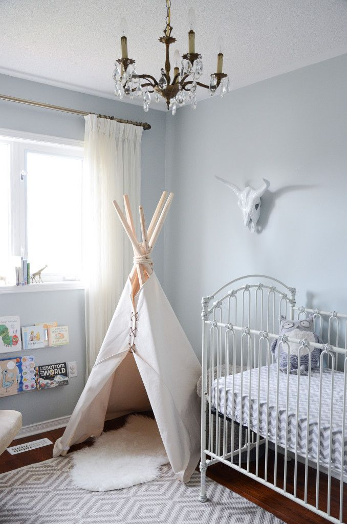 Simple teepee in a corner of a nursery