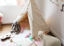 Simple white teepee with lots of toys nearby to play with 217x155 15 Whimsical Teepee Reading Nooks for Kids