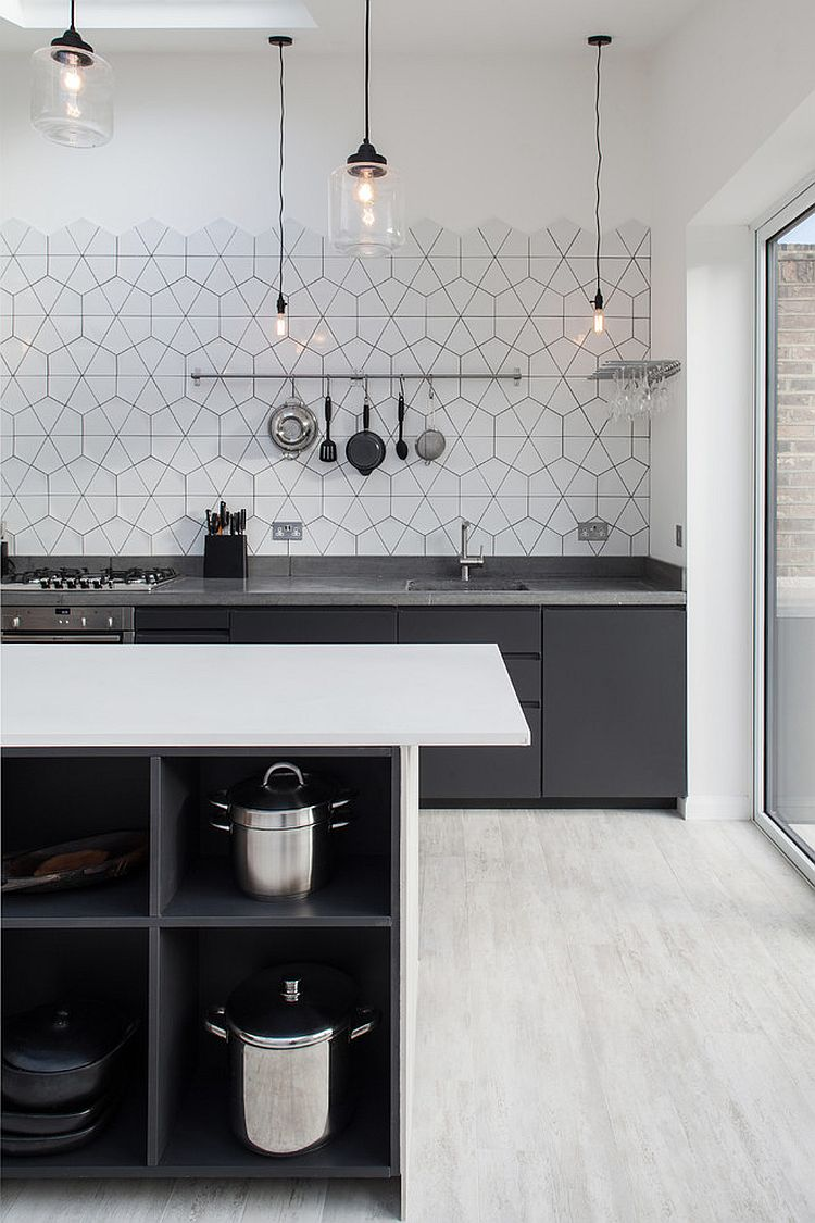 Attractive View In Gallery Simplicity Of Lighting And Pattern Of The Backsplash Hold  Your Attention In This Scandinavian Kitchen