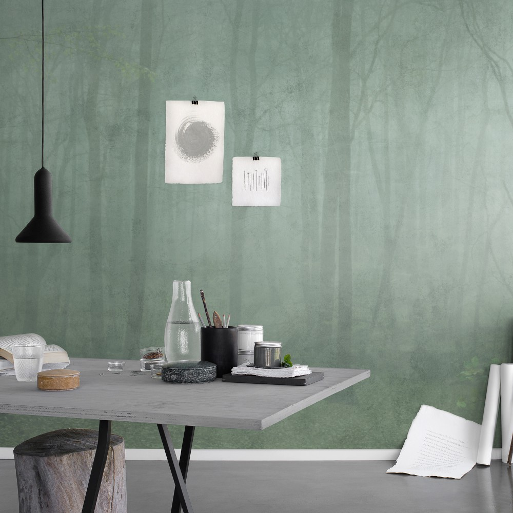 Skog green wallpaper styling Sandberg