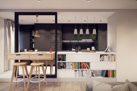 Sleek kitchen and breakfast zone with a modern minimal vibe  A Throwback to the 60s: Midcentury Décor Fashions Posh Warsaw Home Sleek kitchen and breakfast zone with a modern minimal vibe 270x180
