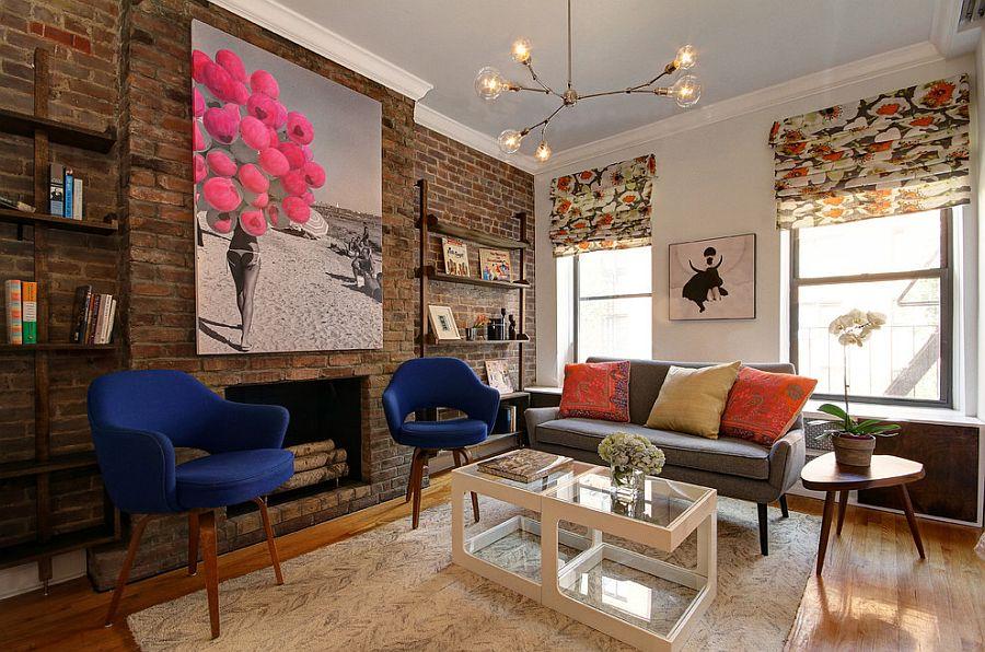 Slender custom made bookshelves keep the focus firmly on the backdrop [Design: Facet 14 Studio LLC]