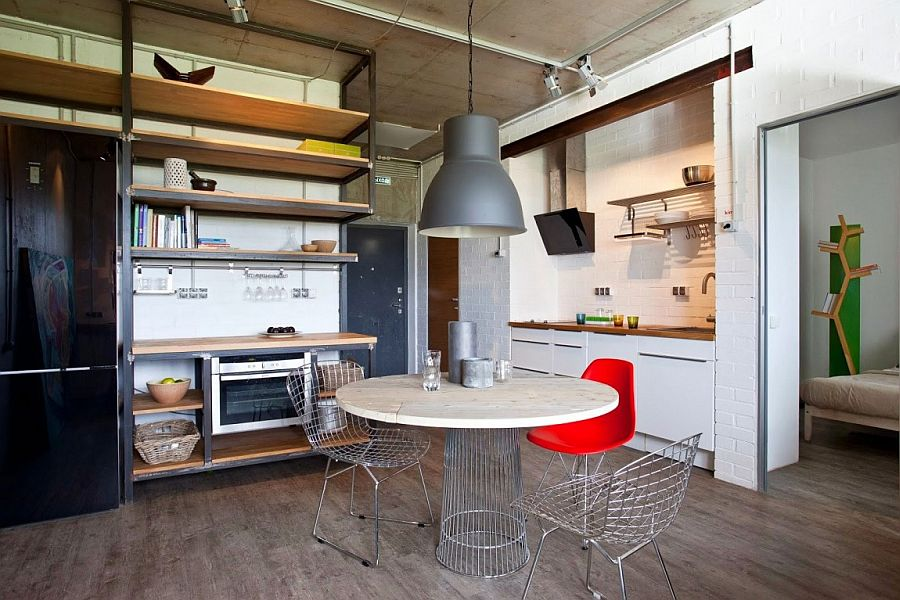 View in gallery Small apartment with living, kitchen and dining space  rolled into one