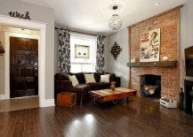 Small brick wall fireplace feature is sometimes all you need! [Design: Realty Queen Toronto]