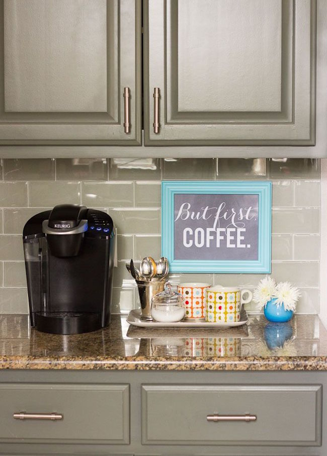 Small coffee station on a kitchen countertop