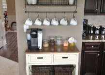 Small coffee station that fits perfectly along a section of the kitchen wall 217x155 20 Charming Coffee Stations to Wake Up to Every Morning