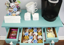 Small coffee station with storage for K-cups