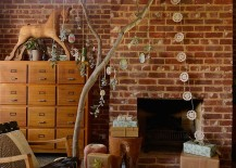 Small eclectic living room with brick wall and holiday decorations