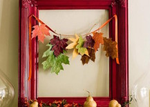 Small garland of leaves with a beautiful red frame 217x155 8 Creative DIY Project Ideas for Using Fall Leaves as Seasonal Wall Art