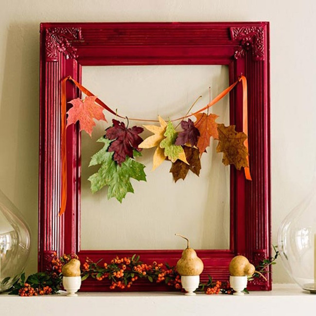 Small garland of leaves with a beautiful red frame