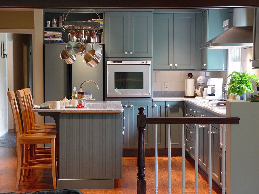 Small kitchen idea in gray [Design: Maggie McManus Kitchens & Baths]