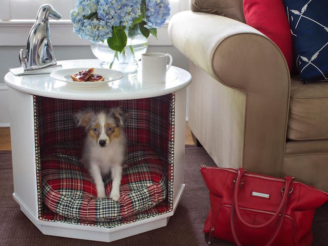 Small living room table with stylish and comfortable dog bed
