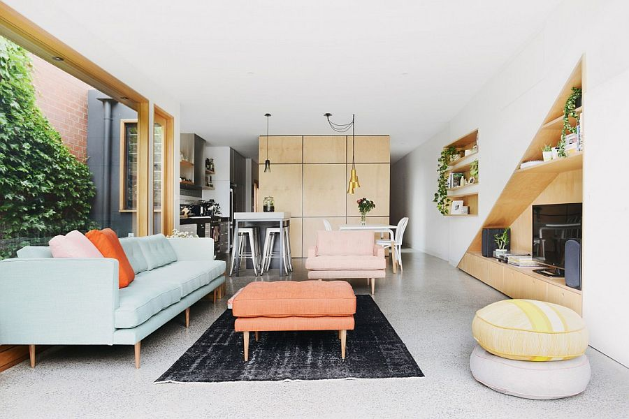 Small open living and dining area of the revamped Aussie home
