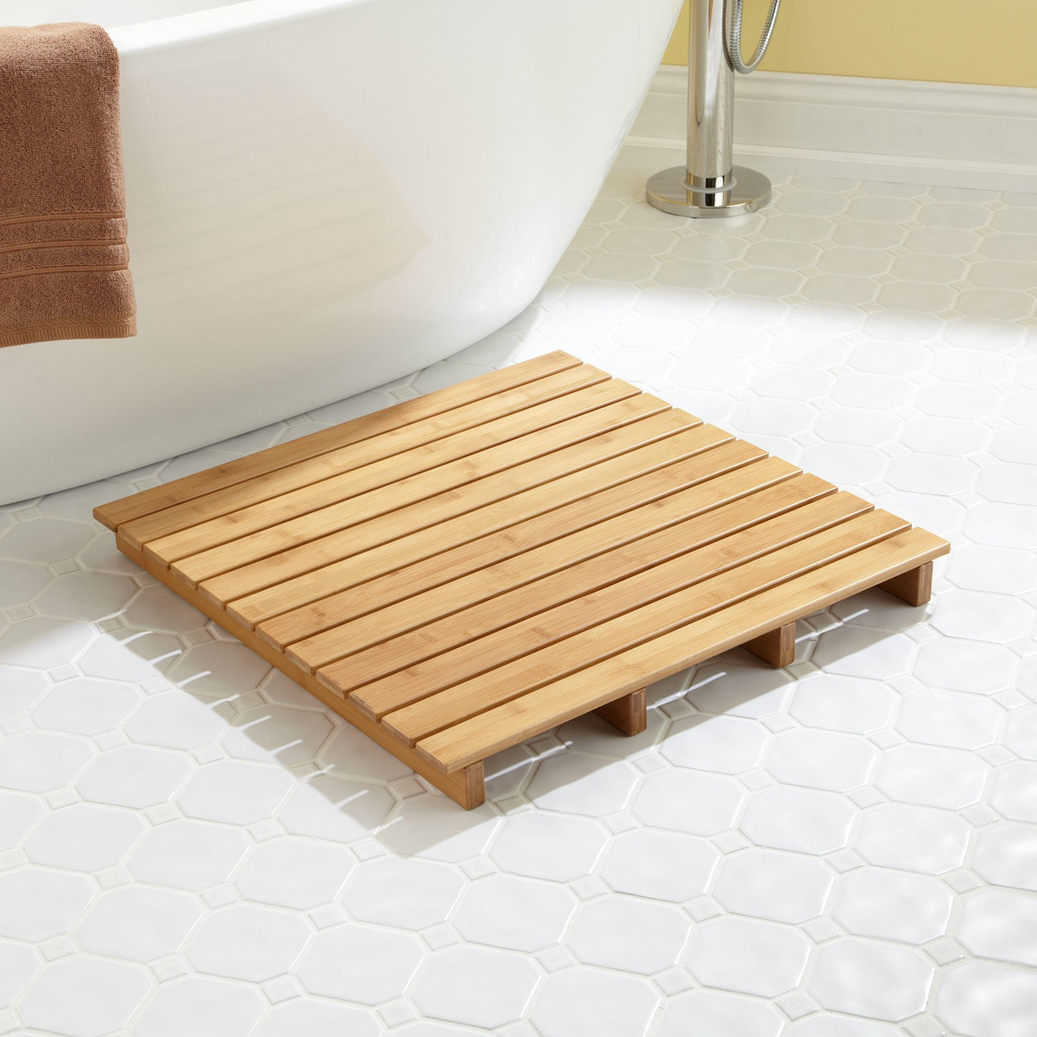 bath mat ideas to make your bathroom feel more like a spa -  small teak bath mat