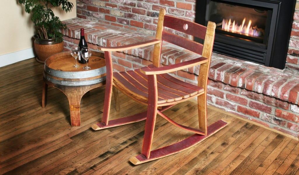 Small wine barrel side table