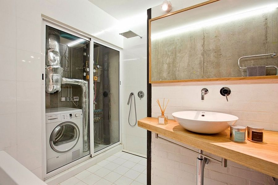 Small modern industrial apartment draped in metal wood for Smart bathroom designs