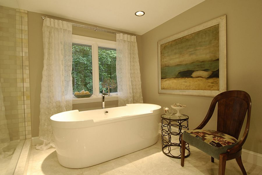 Spa master bathroom with a cozy ambiance [Design: Steiner Design Interiors]