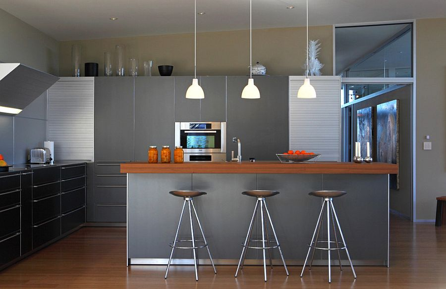 Sparkling kitchen in gray with metallic finishes [Design: Webber + Studio, Architects]