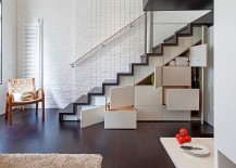 Staircase with hidden cabinets adds to the storage options in your house