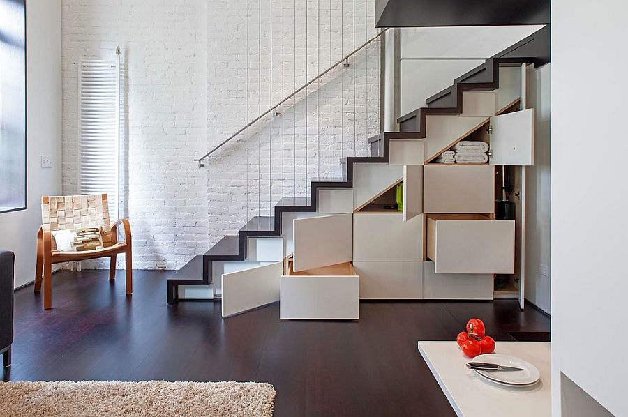 Staircase with hidden cabinets adds to the storage options in your house [Design: Specht Harpman Architects]
