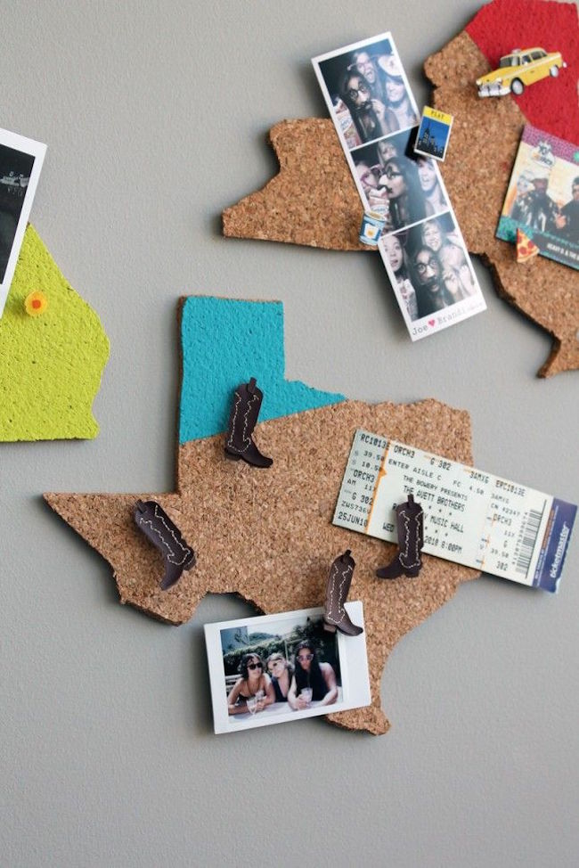 State-shaped cork boards