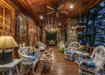 Stone columns and recessed lighting for the traditional, rustic deck