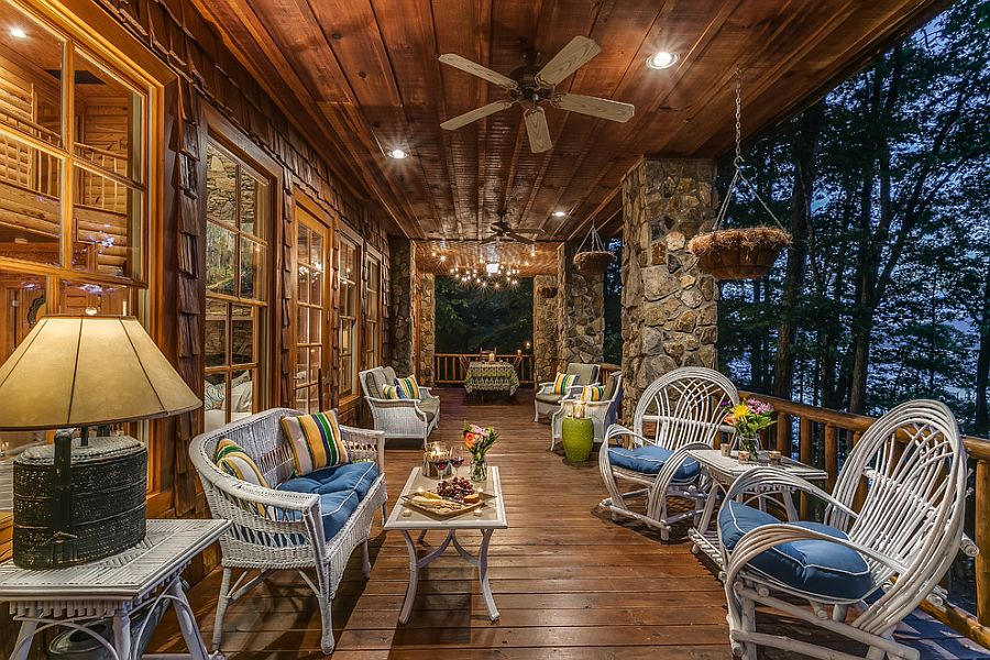 ... Stone Columns And Recessed Lighting For The Traditional, Rustic Deck  [From: North Georgia