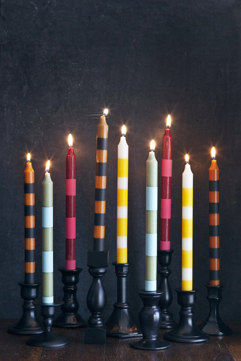 Striped candlesticks from A Beautiful Mess