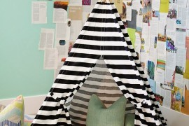 Striped teepee as a reading nook in a corner of the room 15 Whimsical Teepee Reading Nooks for Kids 15 Whimsical Teepee Reading Nooks for Kids Striped teepee as a reading nook in a corner of the room