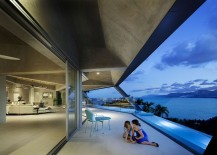 Stunning design of the open living area of The Edge overlooking the ocean