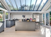 Stunning glass roof steals the show in this awesome contemporary kitchen