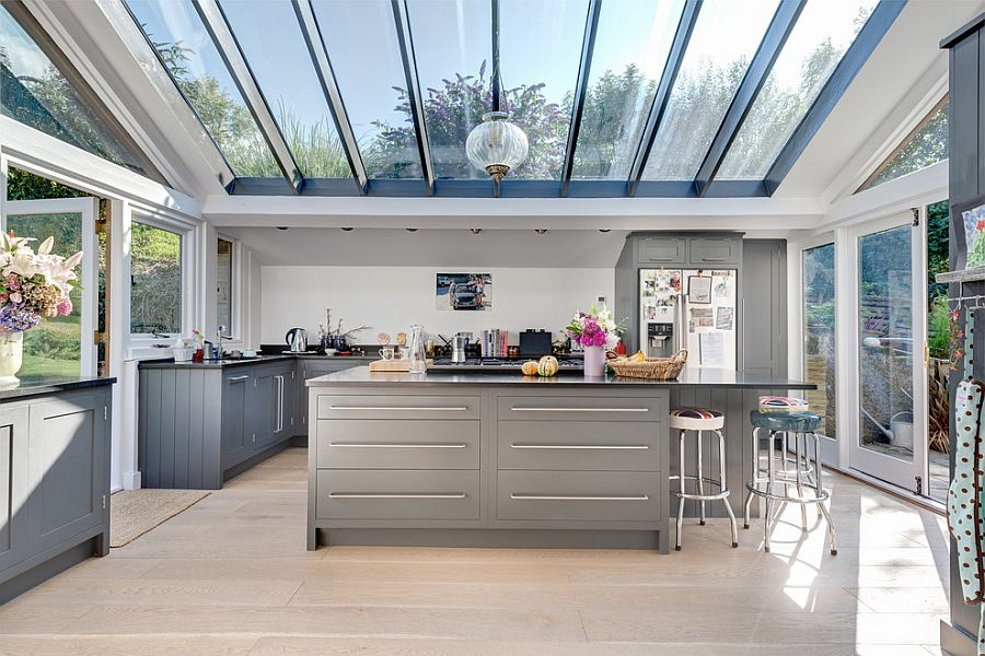 Stunning glass roof steals the show in this awesome contemporary kitchen [From: Colin Cadle Photography]
