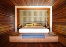 Stunning-mahogany-lined-master-bedroom-with-platform-bed-217x155
