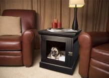 Stylish dog bed and crate built into a small table 217x155 15 Stylish Pet Beds That Also Serve as Great Looking Tables