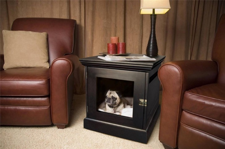 Stylish dog bed and crate built into a small table