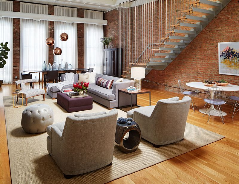 Stylish living room of an urban loft in Chicago  Design  Jessica  Lagrange Interiors. 100 Brick Wall Living Rooms That Inspire Your Design Creativity
