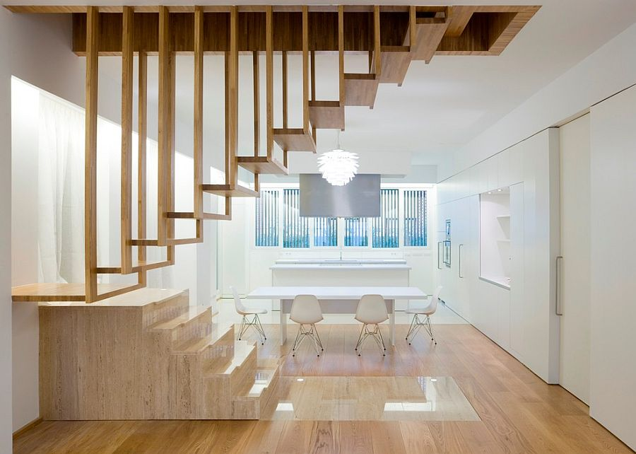Suspended timber steps create a wonderfully unique staircase for the minimal home [Design: Hakwood]