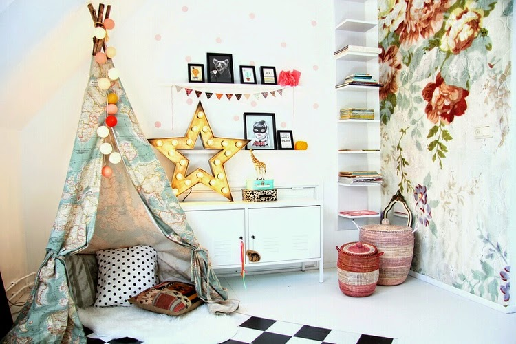 Teepee corner made with colorful map fabric