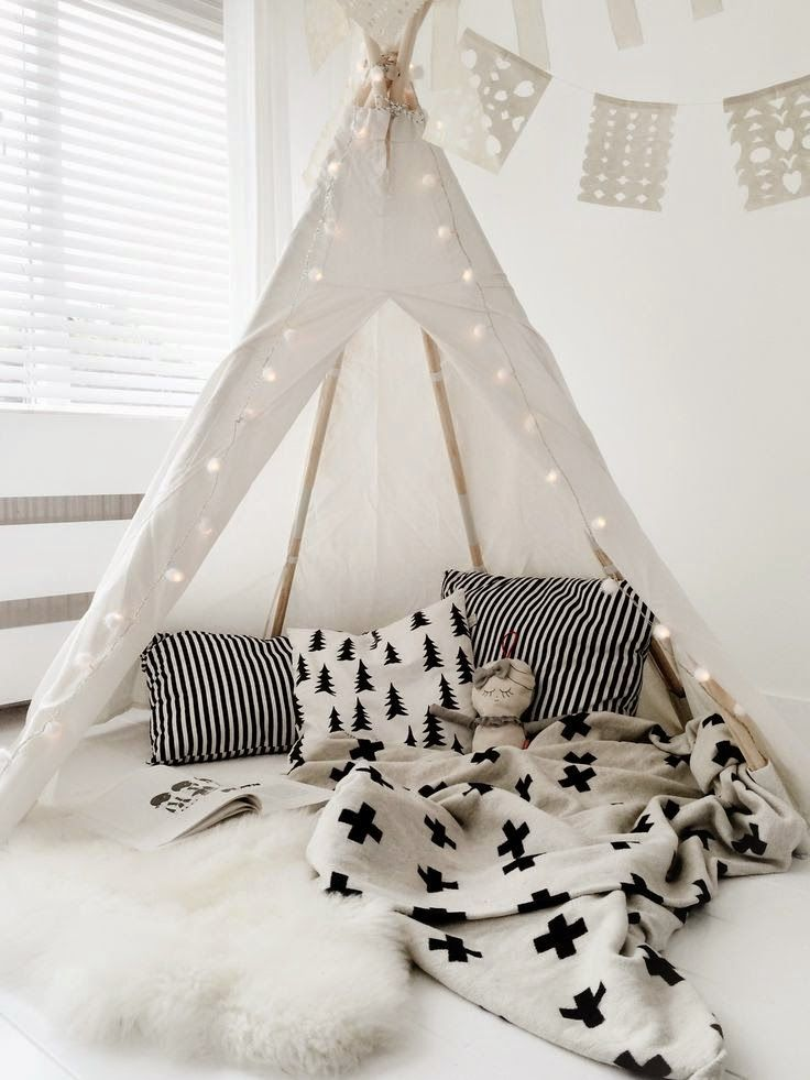 View in gallery Teepee reading nook with clean colors patterns and lantern lights & 15 Whimsical Teepee Reading Nooks for Kids