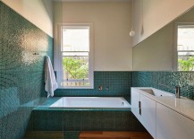 Tiles add color and sparkle to the contemporary bathroom