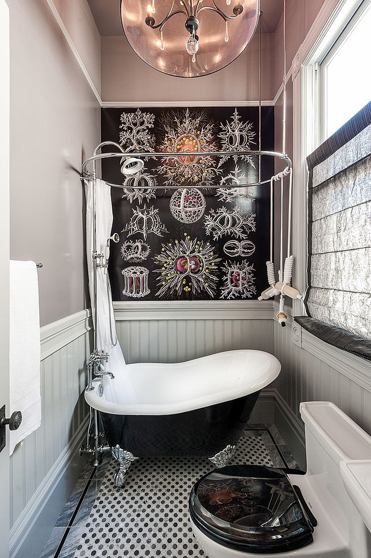 Tiny bathtub and wallpapered wall for the small Victorian bathroom [Design: Aaron Gordon Construction]