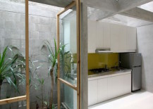Tiny courtyard beside a kitchen in an Indonesian home