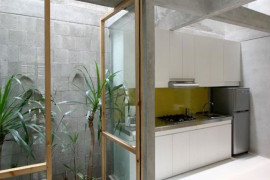 Tiny courtyard beside a kitchen in an Indonesian home  16 Minimal Courtyards with Just a Hint of Nature Tiny courtyard beside a kitchen in an Indonesian home